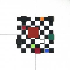 BastisteRayéeObjektRot-Blau-Grün-GelbAcrylAufLeinwand40x40cm2017Nr095