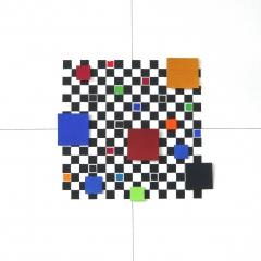BastisteRayéeObjektRot-Grün-Gelb-Blau-SchwarzAcrylAufLeinwand40x40cm2017Nr096