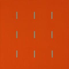 Yala-3x3-Orange-Grün-120x120cm-2004-Nr-037189