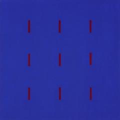 Yala-3x3-Ultramarinblau-Dunkelrot-Acryl-Auf-Leinwand-90x90cm-2003-Nr-001193