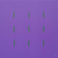 Yala-3x3-Violett-Grün-Acryl-Auf-Leinwand-120x120cm-2005-Nr-040195